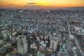 Картинка закат, небоскребы, Япония, архитектура, Осака
