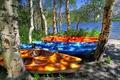 Картинка деревья, горы, озеро, лодки