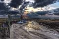 Картинка landscape, coast, clouds, boats, boat, barn, Thornham in Norfolk
