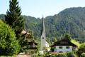 Картинка лес, деревья, горы, дома, Германия, Бавария, Альпы