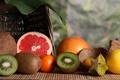 Картинка лимон, кокос, киви, фрукты, грейпфрут