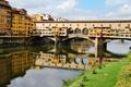Картинка мост, город, фото, Италия, Toscana, водный канал, Firenze
