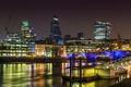 Картинка мост, дома, Англия, Лондон, огни, ночь, фонари