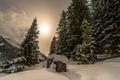 Картинка зима, снег, пейзаж, утро