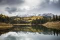 Картинка озеро, осень, лес, горы