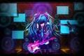 Картинка девушка, гитара, аниме, арт, vocaloid, hatsune miku, нить