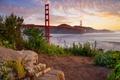 Картинка Сан-Франциско, рассвет, Калифорния, утро, мост Золотые ворота
