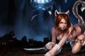 Картинка кошка, девушка, нож, League of Legends, хвос, кинжалт
