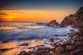 Картинка море, небо, закат, камни, скалы, побережье, корабль