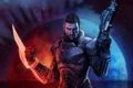 Картинка взгляд, оружие, игра, арт, броня, John Shepard, Mass Effect