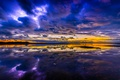 Картинка небо, облака, озеро, отражение, краски, вечер, зарево