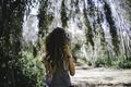 Картинка лето, часы, девушка, листья, волосы
