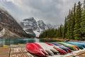 Картинка Banff National Park, Canada, Moraine Lake, canoes