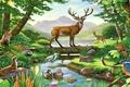 Картинка лес, птицы, рисунок, картина, олень