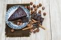 Картинка Шоколад, орехи, корица, Шоколадные, Пирожные