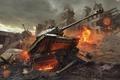 Картинка огонь, война, здания, разрушения, танк, game wallpapers, World of Tanks