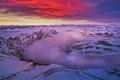Картинка зима, облака, снег, вершины, Канада, зарево, Альберта