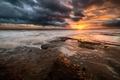 Картинка море, небо, закат, тучи, скалы