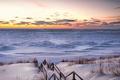 Картинка зима, снег, закат