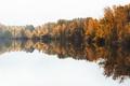 Картинка осень, небо, деревья, озеро, отражение, зеркало, солнечный свет