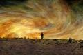 Картинка поле, небо, человек