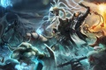 Картинка арт, битва, персонажи, нежить, diablo 3, demon hunter, Barbarian