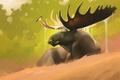 Картинка лес, арт, рога, птичка, лось