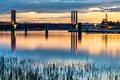 Картинка закат, река, Канада, мосты, Port Coquitlam