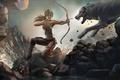 Картинка арт, девушка, Tomb Raider, волки