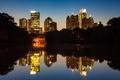 Картинка ночь, город, озеро, парк, Midtown, Atlanta, Piedmont Park