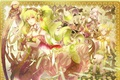 Картинка девушки, арфа, попугай, Vocaloid