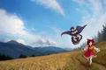 Картинка поле, лес, облака, горы, art, Touhou Project, Marisa Kirisame