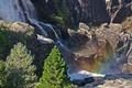Картинка деревья, горы, фото, водопад, радуга