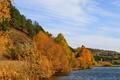 Картинка осень, трава, природа, река, фото