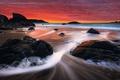 Картинка волны, пляж, закат, красный, камни, Калифорния, Сан-Франциско