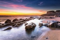Картинка rock, beach, ocean, coast, sunrise