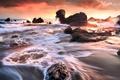Картинка море, волны, закат, скалы