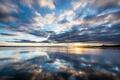 Картинка небо, облака, отражение, Jeff Wallace