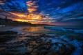 Картинка море, небо, облака, закат, дом, волна