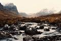 Картинка зима, горы, туман, река, камни, водопады, долины