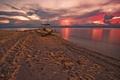 Картинка песок, закат, небо, молния, лодка, тучи, море