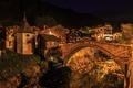 Картинка ночь, мост, огни, дома, Швейцария, Бинн