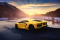 Картинка Lamborghini, Sunset, Yellow, LP700-4, Aventador, Supercar, Rear