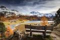 Картинка скамья, река, осень, горы