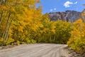 Картинка дорога, осень, лес, небо, горы