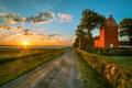 Картинка дорога, поле, облака, закат, HDR, Германия, road