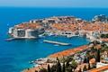 Картинка море, лодка, башня, дома, порт, парус, крепость