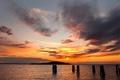 Картинка небо, закат, столб
