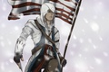 Картинка американский, connor, assassins creed 3, флаг