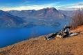 Картинка горы, Италия, скамья, озеро Комо, Ломбардия, Льерна